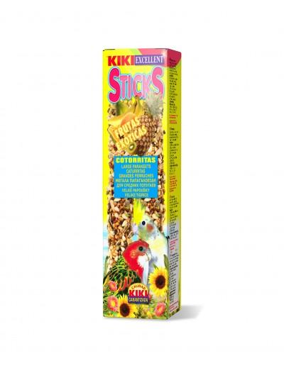kiki snacks sticks cotorritas frutas exoticas 2 unidades 140 gr