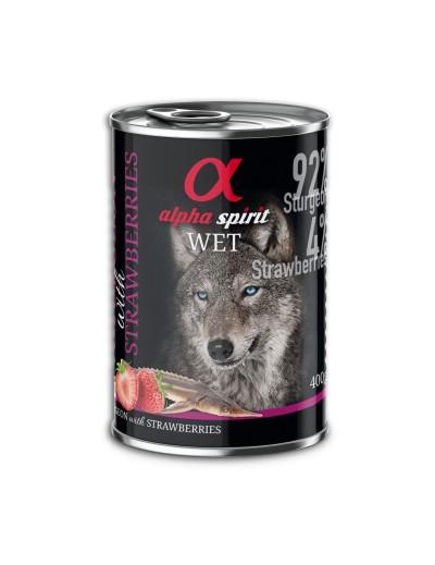 comida humeda lata ALPHA SPIRIT Esturión con Fresas para perros
