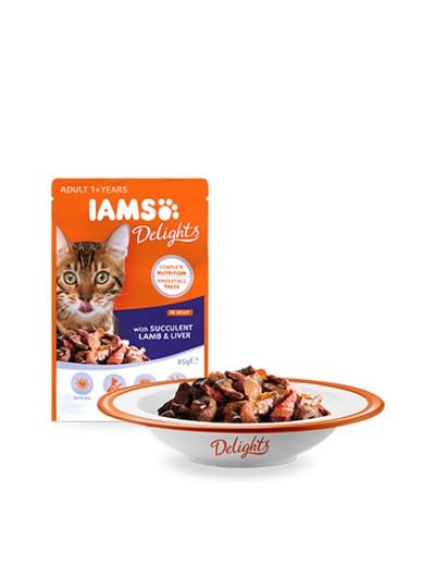 comida húmeda IAMS Delights con Suculento Hígado y Cordero En Gelatina para gatos