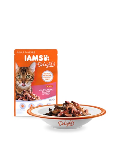 comida húmeda IAMS Delights con Delicioso Salmón y Trucha en Gelatina para gatos