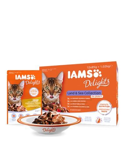 comida humeda IAMS Delights Land & Sea Collection in Gravy para gatos