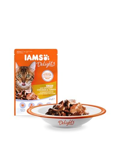 comida húmeda IAMS Delights con Pollo y Pavo Sabrosos en Salsa para gatos