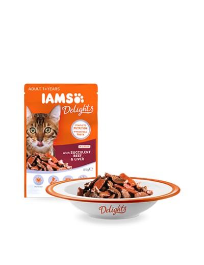 comida húmeda IAMS Delights con Hígado y Ternera Suculentos en Salsa para gatos