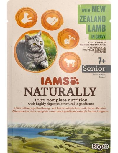comida húmeda IAMS Naturally para gatos senior con Cordero de Nueva Zelanda en salsa