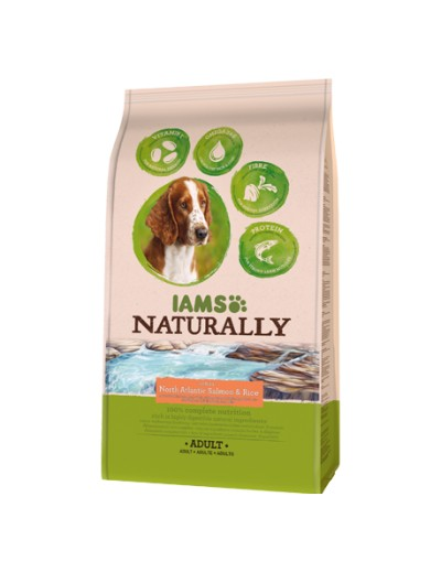 IAMS Naturally perro adulto rico en Salmón del norte y arroz