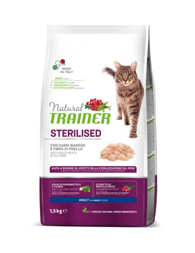 natural trainer Sterilised Adult con Carnes Blancas para gatos
