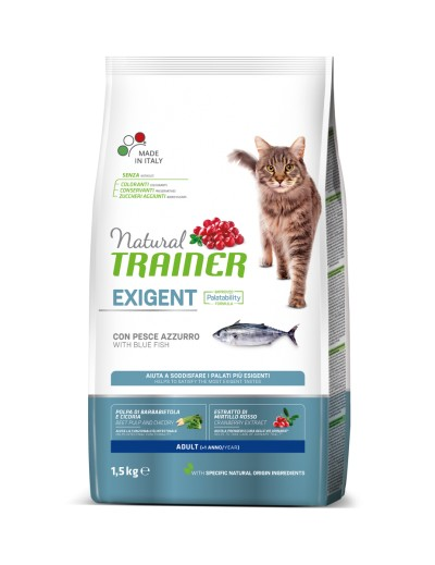 natural trainer Exigent Adult con Pescado Azul para gatos